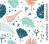 seamless pattern with tropical... | Shutterstock .eps vector #1069542155