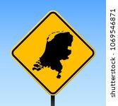 netherlands map road sign.... | Shutterstock .eps vector #1069546871