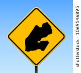 djibouti map road sign. square... | Shutterstock .eps vector #1069546895