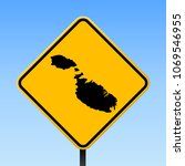 malta map road sign. square... | Shutterstock .eps vector #1069546955