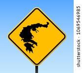 lefkada map road sign. square... | Shutterstock .eps vector #1069546985