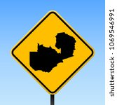 zambia map road sign. square... | Shutterstock .eps vector #1069546991