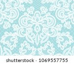 seamless turquoise lace... | Shutterstock .eps vector #1069557755