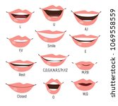 famale mouth animation. phoneme ... | Shutterstock .eps vector #1069558559