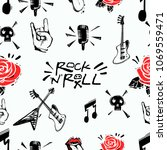 rock and roll seamless pattern... | Shutterstock .eps vector #1069559471
