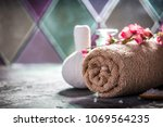 spa concept with sea salt ... | Shutterstock . vector #1069564235