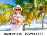 little adorable girl with big... | Shutterstock . vector #1069565594