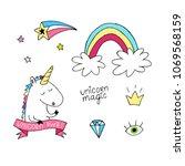 unicorn vector set. hand drawn... | Shutterstock .eps vector #1069568159