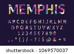 pop art memphis style font for... | Shutterstock .eps vector #1069570037