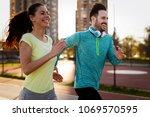 friends fitness training... | Shutterstock . vector #1069570595