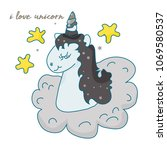 the cute magic unicorn and... | Shutterstock .eps vector #1069580537
