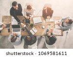 hand shaking  business people... | Shutterstock . vector #1069581611