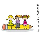 children sitting on a pencil.... | Shutterstock .eps vector #106958351