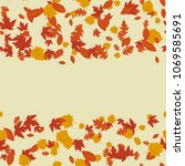 autumn frame with leaves. vector | Shutterstock .eps vector #1069585691