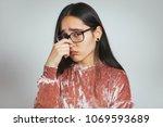 beautiful asian woman has runny ... | Shutterstock . vector #1069593689