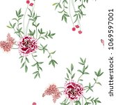 trendy floral background with... | Shutterstock .eps vector #1069597001