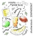 hand drawn fruit smoothie jar... | Shutterstock .eps vector #1069600367