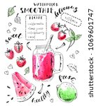 hand drawn smoothie jar with... | Shutterstock .eps vector #1069601747