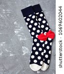 fashion socks on gray background | Shutterstock . vector #1069602044