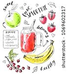 hand drawn smoothie jar with... | Shutterstock .eps vector #1069602317