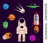 space  cosmos objects icon set. ... | Shutterstock .eps vector #1069604135