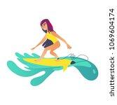 summertime sea and ocean... | Shutterstock .eps vector #1069604174