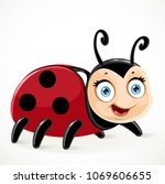 cute toy ladybug on a white... | Shutterstock .eps vector #1069606655