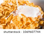 close up breakfast cornflakes... | Shutterstock . vector #1069607744