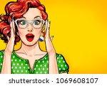 surprised pop art woman in... | Shutterstock . vector #1069608107