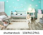 modern baby room interior with... | Shutterstock . vector #1069612961