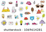 cute colorful modern patch set. ... | Shutterstock .eps vector #1069614281