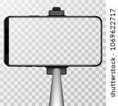monopod selfie stick with empty ... | Shutterstock .eps vector #1069622717