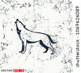 vector wolf silhouette on... | Shutterstock .eps vector #1069626089