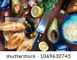 wine and toast with avocado... | Shutterstock . vector #1069630745