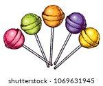 lollipop. freehand vibrant... | Shutterstock .eps vector #1069631945
