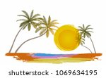 summer holiday with sightseeing ... | Shutterstock .eps vector #1069634195