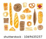 bundle of breads and homemade... | Shutterstock .eps vector #1069635257