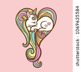 a small sleeping unicorn with a ... | Shutterstock .eps vector #1069635584