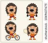 set of funny hedgehog is... | Shutterstock .eps vector #1069637675