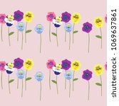 seamless floral pattern with... | Shutterstock .eps vector #1069637861