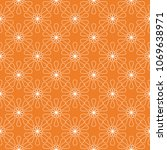 white floral ornament on orange.... | Shutterstock .eps vector #1069638971