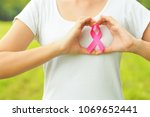 pink ribbon breast cancer... | Shutterstock . vector #1069652441