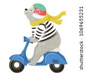 cute bear on motorcycle vector... | Shutterstock .eps vector #1069655231
