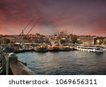 city of istanbul on a cloudy day   Shutterstock . vector #1069656311