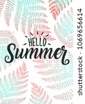 hello summer with fern leaf and ... | Shutterstock .eps vector #1069656614