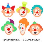 set faces funny cute sweet... | Shutterstock .eps vector #1069659224
