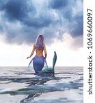 3d fantasy mermaid in mythical... | Shutterstock . vector #1069660097