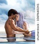 a sea love story between man... | Shutterstock . vector #1069660241
