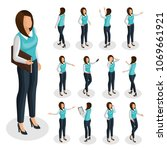 isometric business woman set... | Shutterstock .eps vector #1069661921