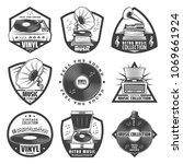 vintage monochrome gramophone... | Shutterstock .eps vector #1069661924